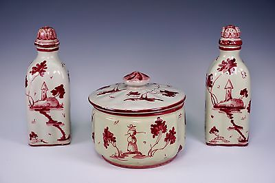 Antique Italian Pottery Dresser Set Jar and 2 Perfume Bottles Made in Italy