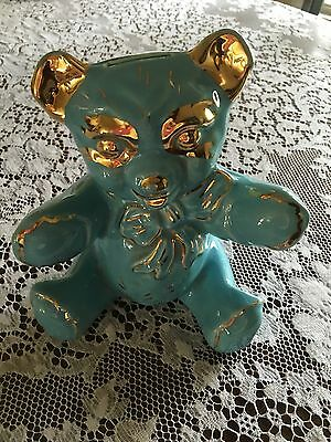 """Antique Hand Decorated 22k Gold Leafing """"Pearl China"""" Blue Teddy Bear Bank 1940s"""