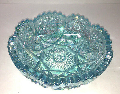 Imperial Glass Iridescent Ice Blue Pinwheel Hobstar Bowl