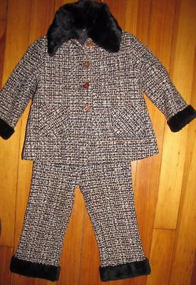 VTG 50's 60's Girls JACKET & PANTS Children's Winter OUTFIT Fur Collar Tweed EVC