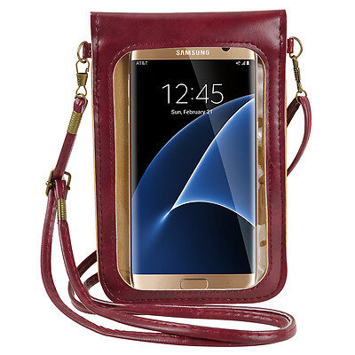 Wine Red Crossbody Bag Case Pouch for Samsung Galaxy Note 9 / S9 Plus / J7 Prime