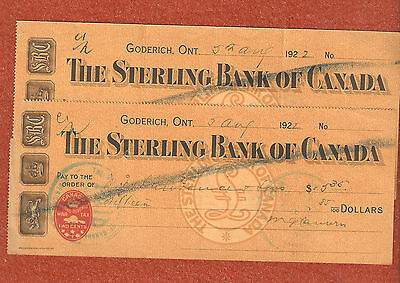 2 Sterling Bank of Canada (Goderich Ontario) Bank Cheques  collectable cheques