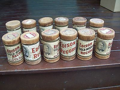 """12 x Old Used Cylinder """"Edison Records"""" In Cardboard Cylinders!!"""