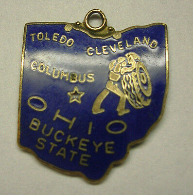 Vintage Blue Enameled Ohio Charm Gold Filled Guilloche  Buckeye State