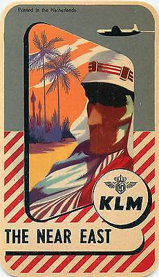 Holland Klm Royal Dutch Airlines To The Near East Vintage Luggage Label