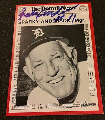 Sparky Anderson Signed 1981 Detroit News Boys Of Summer Card 1984 Detroit Tigers