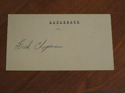 Fred Chapman Autographed Index Card JSA Auction Certified