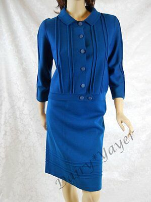 LARGE vintage 1970's BRANDEIS wool BLUE Knit SKIRT suit JACKET made ITALY