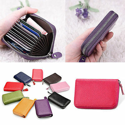 Mens Womens Genuine Real Leather Credit ID Business Card Holder Pocket Wallet AR