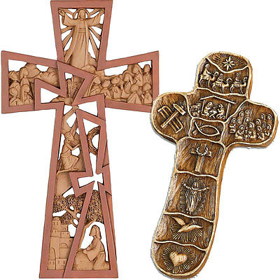 NEW (Set) The Christ Story Palm Size And He Is Risen 9 Inch Resin Wall Crosses