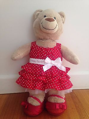 Build-A-Bear Red Spotty Party Dress and accessories
