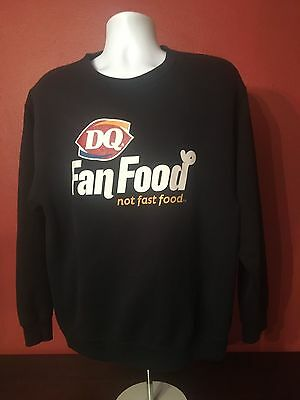 """Jerzees Dairy Queen DQ RARE sweater """"fan food not fast food"""" black Size Large"""