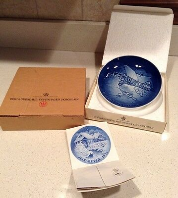 New Bing & Grondahl 1975 Christmas at the Old Water Mill Porcelain Plate