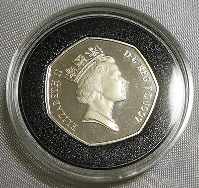 Nice 1997 Great Britain 50 Pence Sterling Silver Proof Coin UK .925 27.3mm