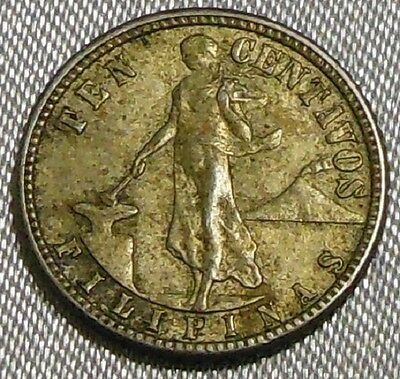 Vintage 1944 D Philippines 10 Centavos Silver Coin US Administration #2