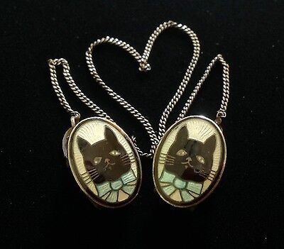 Antique Sterling Silver Gilloche Enamel Kitty Cat Baby Bib Sweater Scarf Clips