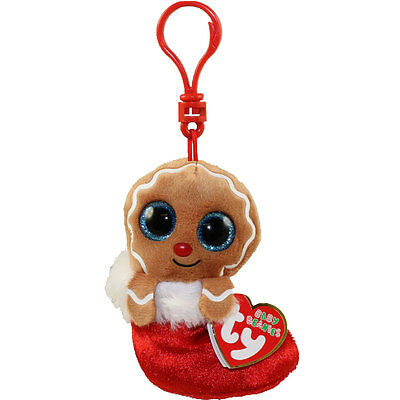TY Holiday Baby - JINGLY the Gingerbread (2016) (key clip - 3.5 inch) - MWMTs