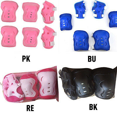 Kids Wrist Elbow Knee Pads Sports Gear Roller Skating Protector Guards 6 Pcs/Set