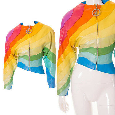 Vintage Thierry Mugler Rare S/S 1990 Rainbow Leather Jacket