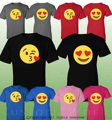 Couple Shirt Emoji Kiss Cute Matching Couple Clothes T-Shirts His Hers T-Shirts