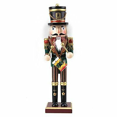 BQLZR Colorful Handmade Wooden Soldier Nutcracker Puppet Handcraft with A Drum