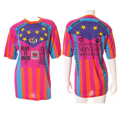 """Moschino Jean Vintage 90s """"Ready to Where?"""" Cyclist Jersey Tshirt"""