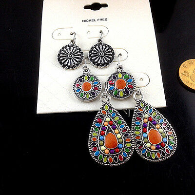 3 Pairs/Lot Women's Vintage Bohemian Boho Colorful Waterdrop Dangle Earrings