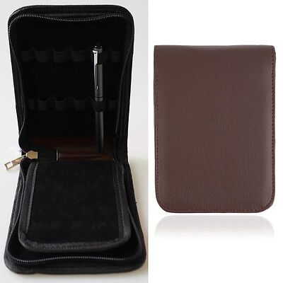 Fashion Fountain Pen Roller Pen PU Leather Case Pouch Bag For 12 Pens ZX