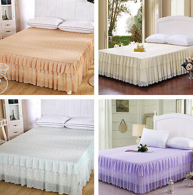 Fashion High Quality Bedspread Home Decorate Bed Skirt Print Bedding Lace Edge