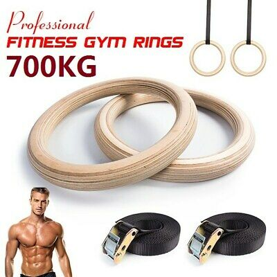 Birch Wood Olympic Gymnastic Rings Gym Exercise Straps Strength Training Fitness