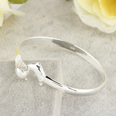Wholesale European Fashion Jewelry Solid Silver Dolphin Clasp Bangle Bracelet DQ