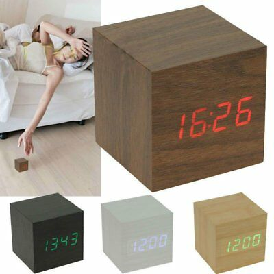 Modern Cube Wooden Wood Digital LED Desk Voice Control Alarm Clock Thermometer~6