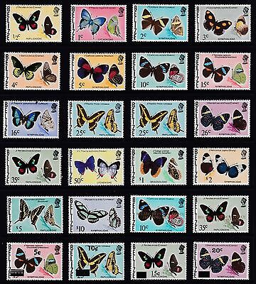 Belize - complete set of butterfly stamps including all overprints. MNH fresh.