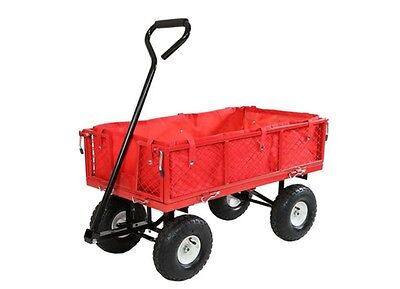 Folding Utility Cart Wagon Outdoor Camping Garden Beach Travel Carts Trolley Red