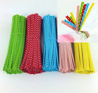 500pcs CELLOPHANE CONE BAGS SHAPE SWEET DISPLAY PARTY *ASSORTED TWIST TIES*