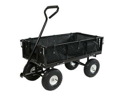 Folding Utility Cart Wagon Black Outdoor Garden Carts Steel Frame Beach Trolley
