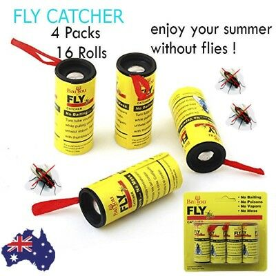 16 Rolls 4 Packs sticky fly trap glue insect bug catcher paper ribbon tape strip