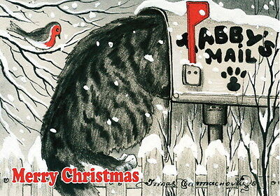 Cat Christmas Card Merry Christmas Art by Irina Garmashova