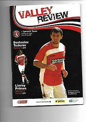 2008/9 Charlton Athletic v Ipswich Town football programme
