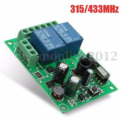 220V 315/433MHz 2CH Channel Wireless RF Relay Remote Control Switch Receiver 10A