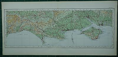 1922 Large Map ~ Dorset Isle Of Wight Bournemouth Southampton New Forest