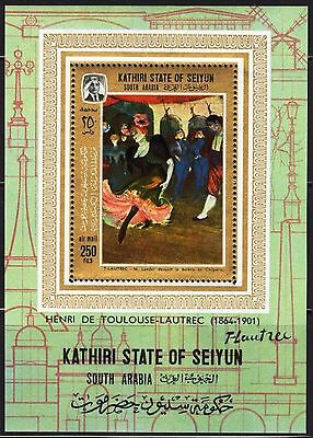 ADEN / Seiyun 1967 Art Paintings Toulouse- Lautrec S/S MNH** Mi: Bl.9 16,00 Eur.