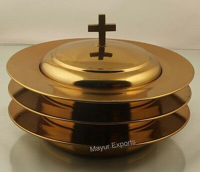 Brasstone - 3 Stainless Steel Communion Stacking Bread Plate with Cover