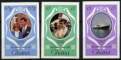 Ghana 1981 SG#952-4 Royal Wedding Colour Change MNH Imperf Set #D38276