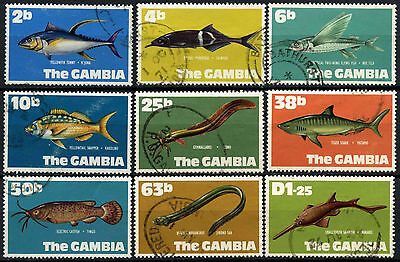 Gambia 1971 New Currency, Fish Definitives x 9 Used #D38274