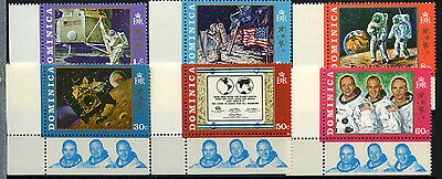 """Dominica 1970 SG#296-301 Moon Landing """"With Astronaut"""" Tabs MNH Set #D38117"""
