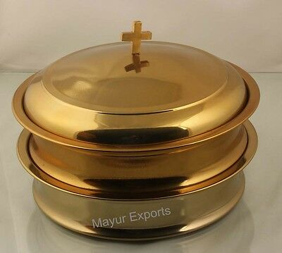 Brasstone - 2 Stainless Steel Communion Tray Each Holds 40 cups with Lid/Cover