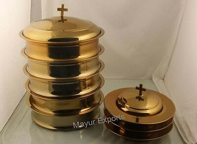 Mayur Exports - Brasstone 5 Communion tray with lid and 3 bread plate with lid