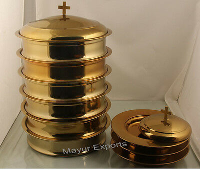 Mayur Exports - Brasstone 6 Communion tray with lid and 3 bread plate with lid
