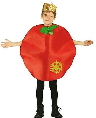 Girls Boys Red Christmas Bauble Xmas Festive Fancy Dress Costume Outfit 3-9 yrs